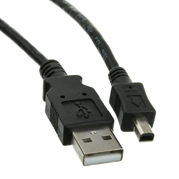 USB cable (2.0), USB A M- 4 pin M, 2m, black, Logo, blistr