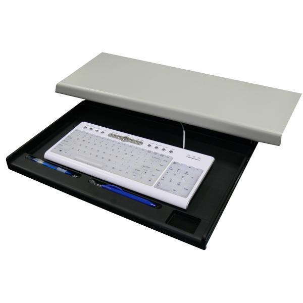 Keyboard holder under desk, black, plastic, Logo, black
