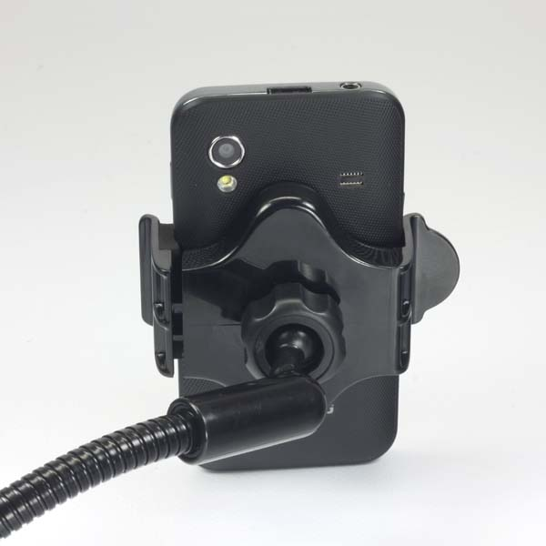 Mobile phone holder, PDA, GPS LOGO joint, into a car, adjustable width, black, plastic, with USB adapter 1,5A, black, mobil
