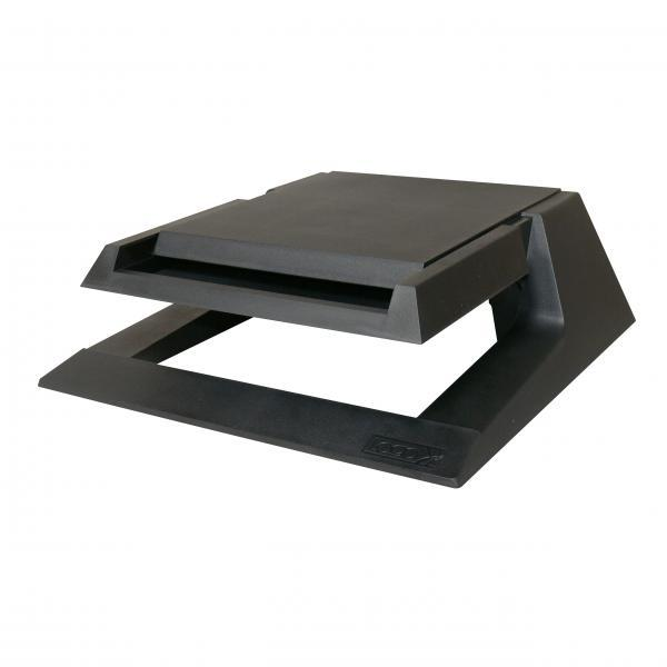 Holder under monitor, with drawer for office supplies, black, plastic, 23 kg load, Logo, LCD and CRT