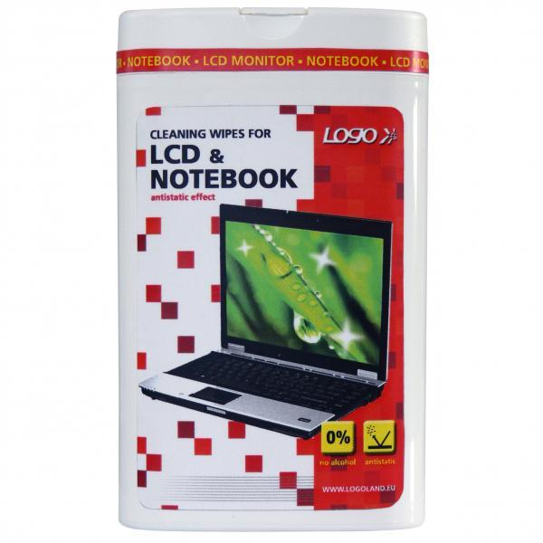 Cleaning tear-off wipes, for LCD, laptops, dose, 50pcs, LOGO