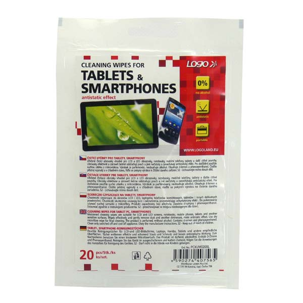 Cleaning towels, for tablet, smartphone, lockable plastic bag, 20 pcs, LOGO