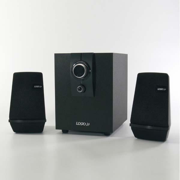 Logo loudspeakers Boom-Bass, 2.1, 18W, black, volume control, wooden