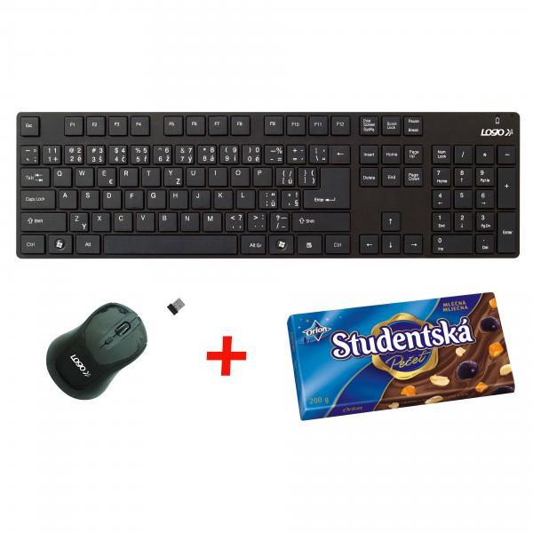 LOGO Keyboard set Chocolate, classic, 2.4 [Ghz], black, wireless, CZ, with optical mouse