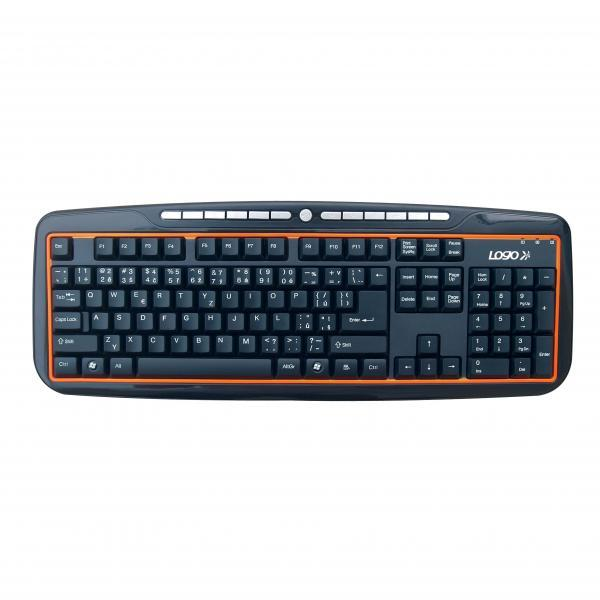 LOGO keyboard Orange line, multimedia, black, wire (USB), CZ, spill-resitant