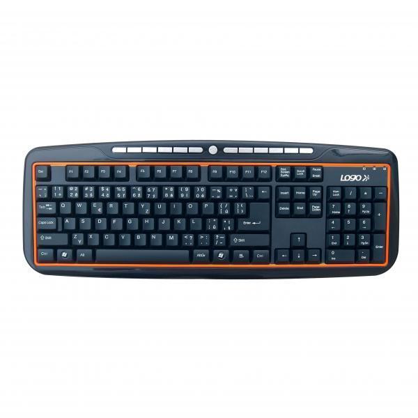 LOGO keyboard Orange line, multimedia, black, wire (USB), CZ, spill-resitant