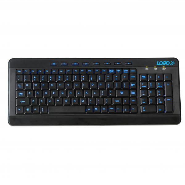 LOGO keyboard Illuminated, multimedia, black, wire (USB), CZ, with blue illuminated keys