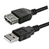 USB cable (2.0), USB A M- USB A F, 1.8m, black, Logo, price per piece