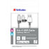 USB cable (2.0), USB A M- USB micro M, 1m, silver, Verbatim, box, 48869, adjustable Lightning cable connector