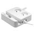 Power surge protector, 2 outlets, white, Logo, 3x USB, with stand for mobile, tablet
